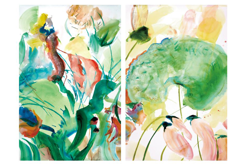 BUT WHAT AM I SUPPOSED ONLY WITH FLOWERS?, selection of open serial, watercolor on paper, je 180 cm x 140 cm, 2015