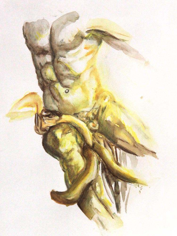 Theresa Berger, Sixpack, Aquarellstifte auf Papier, 24 x 30 cm © Theresa Berger