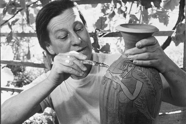 Marguerite Friedlaender-Wildenhain decorating a pot, cropped, photo by Otto Hagel, provided by permission from Stewards of the Coast and Redwoods