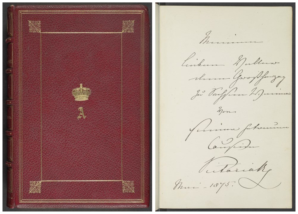 Theodore Martin: The life of His Royal Highness the Prince Consort. London 1875. Sgn. CA 149 (1). Widmung von Queen Victoria auf dem Vorsatzblatt, Klassik Stiftung Weimar.